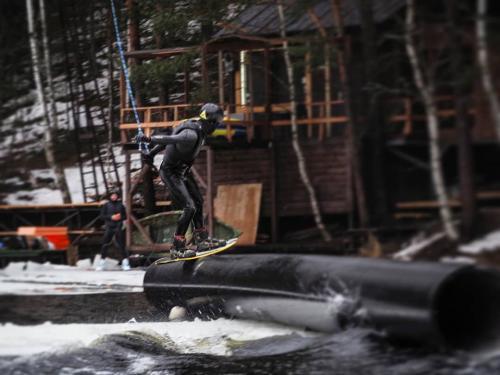 Ice jibbing in wakepark